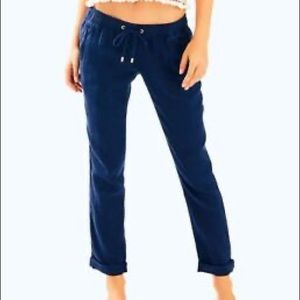 Lilly Pulitzer Navy Blue Linen Pants